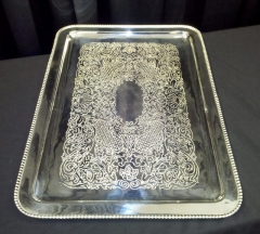 Where to rent TRAY, SILVER OBLG SCROLL in Omaha NE
