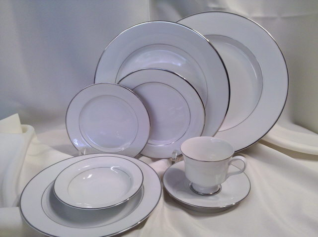 Where to find ALL  WHITE CHINA W SILVER BAND in Omaha